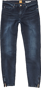 Boss Orange J10 Mid Rise Skinny Jeans, Deep Blue - style: skinny leg; length: standard; pattern: plain; pocket detail: traditional 5 pocket; waist: mid/regular rise; predominant colour: navy; occasions: casual; fibres: cotton - stretch; jeans detail: whiskering, shading down centre of thigh; texture group: denim; pattern type: fabric; wardrobe: basic; season: s/s 2017