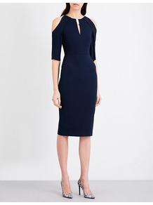 Keeling Crepe Dress, Women's, Navy White - style: shift; length: below the knee; neckline: v-neck; pattern: plain; predominant colour: navy; occasions: evening; fit: body skimming; shoulder detail: cut out shoulder; sleeve length: 3/4 length; sleeve style: standard; texture group: crepes; pattern type: fabric; fibres: viscose/rayon - mix; wardrobe: event; season: s/s 2017