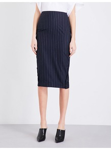 Pinstriped Woven Pencil Skirt, Women's, Royal Blue/Balck - length: below the knee; pattern: plain; style: pencil; fit: tailored/fitted; waist: high rise; predominant colour: navy; occasions: work; fibres: wool - 100%; pattern type: fabric; texture group: woven light midweight; wardrobe: basic; season: s/s 2017