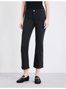The Kick Flared Cropped Mid Rise Jeans, Women's, Tar - style: flares; pattern: plain; pocket detail: traditional 5 pocket; waist: mid/regular rise; predominant colour: black; occasions: casual, creative work; length: ankle length; fibres: cotton - stretch; jeans & bottoms detail: turn ups; texture group: denim; pattern type: fabric; wardrobe: basic; season: s/s 2017