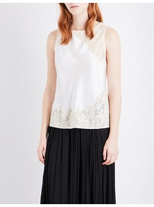 Fiora Floral Lace And Silk Satin Top, Women's, Black/Nude - neckline: round neck; pattern: plain; sleeve style: sleeveless; predominant colour: nude; occasions: work, occasion; length: standard; style: top; fibres: silk - mix; fit: straight cut; sleeve length: sleeveless; texture group: silky - light; pattern type: fabric; embellishment: lace; wardrobe: highlight; season: s/s 2017; embellishment location: hip, shoulder