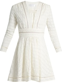 Ryker Embroidered Cotton And Silk Blend Dress - length: mid thigh; neckline: low v-neck; pattern: plain; predominant colour: ivory/cream; occasions: casual; fit: fitted at waist & bust; style: fit & flare; fibres: cotton - mix; sleeve length: long sleeve; sleeve style: standard; texture group: cotton feel fabrics; pattern type: fabric; wardrobe: basic; season: s/s 2017