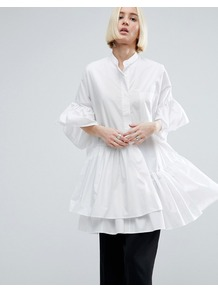Layered Frill Hem Oversize Shirt White - sleeve style: bell sleeve; pattern: plain; style: shirt; predominant colour: white; neckline: collarstand; fibres: polyester/polyamide - 100%; fit: body skimming; length: mid thigh; hip detail: adds bulk at the hips; sleeve length: 3/4 length; pattern type: fabric; texture group: other - light to midweight; occasions: creative work; wardrobe: highlight; season: s/s 2017; embellishment location: hem, hip
