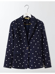 Ellen Cotton Blazer Navy Small Scattered Spot Women, Navy Small Scattered Spot - style: single breasted blazer; pattern: polka dot; collar: standard lapel/rever collar; secondary colour: white; predominant colour: navy; occasions: casual, creative work; length: standard; fit: tailored/fitted; fibres: cotton - stretch; sleeve length: long sleeve; sleeve style: standard; collar break: low/open; pattern type: fabric; texture group: woven light midweight; wardrobe: highlight; season: s/s 2017