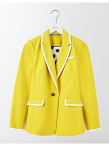 Ellen Cotton Blazer Mimosa Yellow Women, Mimosa Yellow - pattern: plain; style: single breasted blazer; collar: standard lapel/rever collar; secondary colour: white; predominant colour: yellow; occasions: casual, creative work; length: standard; fit: straight cut (boxy); fibres: cotton - 100%; sleeve length: long sleeve; sleeve style: standard; texture group: cotton feel fabrics; collar break: medium; pattern type: fabric; wardrobe: highlight; season: s/s 2017