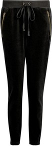 Logo Velour Joggers By Juicy Couture - length: standard; pattern: plain; style: tracksuit pants; pocket detail: pockets at the sides; waist detail: belted waist/tie at waist/drawstring; waist: mid/regular rise; predominant colour: black; occasions: casual; fibres: cotton - mix; fit: slim leg; pattern type: fabric; texture group: velvet/fabrics with pile; embellishment: zips; wardrobe: highlight; trends: velvet; season: s/s 2017