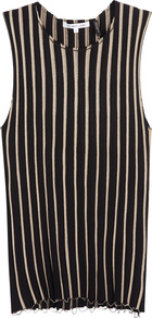 Black Striped Stretch Knit Tank - pattern: vertical stripes; sleeve style: sleeveless; secondary colour: stone; predominant colour: black; occasions: evening; length: standard; style: top; fit: tight; neckline: crew; sleeve length: sleeveless; texture group: knits/crochet; pattern type: knitted - fine stitch; pattern size: standard; fibres: viscose/rayon - mix; wardrobe: event; season: s/s 2017