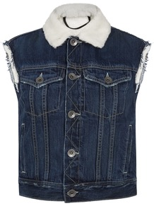 Dark Blue Cropped Denim Gilet - pattern: plain; sleeve style: sleeveless; style: gilet; fit: slim fit; secondary colour: ivory/cream; predominant colour: denim; occasions: casual, creative work; fibres: cotton - 100%; sleeve length: sleeveless; texture group: denim; collar: fur; collar break: high; pattern type: fabric; pattern size: standard; length: cropped; wardrobe: highlight; season: s/s 2017