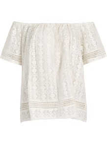 Hannela Off The Shoulder Cotton Lace Top - neckline: off the shoulder; length: below the bottom; predominant colour: ivory/cream; occasions: casual; style: top; fibres: cotton - mix; fit: loose; sleeve length: short sleeve; sleeve style: standard; texture group: lace; pattern type: fabric; pattern size: standard; pattern: patterned/print; wardrobe: highlight; season: s/s 2017; embellishment location: all over