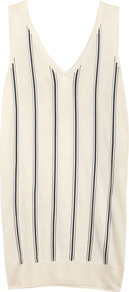 Striped Fine Knit Tank - neckline: v-neck; pattern: vertical stripes; sleeve style: sleeveless; style: vest top; predominant colour: ivory/cream; occasions: casual, creative work; length: standard; fibres: viscose/rayon - 100%; fit: body skimming; sleeve length: sleeveless; pattern type: knitted - fine stitch; pattern size: standard; texture group: jersey - stretchy/drapey; wardrobe: highlight; season: s/s 2017