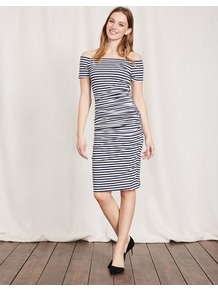 Off Shoulder Ruched Dress Navy/Ivory Stripe Women, Navy/Ivory Stripe - neckline: off the shoulder; fit: tight; style: bodycon; pattern: striped; secondary colour: ivory/cream; predominant colour: navy; occasions: casual; length: on the knee; fibres: cotton - stretch; sleeve length: short sleeve; sleeve style: standard; texture group: jersey - clingy; pattern type: fabric; multicoloured: multicoloured; wardrobe: highlight; season: s/s 2017