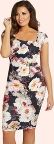 Floral Print Bodycon Dress - sleeve style: capped; fit: tight; style: bodycon; secondary colour: white; predominant colour: black; occasions: evening; length: on the knee; fibres: polyester/polyamide - stretch; sleeve length: short sleeve; texture group: jersey - clingy; neckline: low square neck; pattern type: fabric; pattern size: big & busy; pattern: florals; multicoloured: multicoloured; wardrobe: event; season: s/s 2017