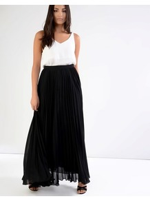 Pleated Maxi Skirt - pattern: plain; length: ankle length; fit: loose/voluminous; style: pleated; waist: mid/regular rise; predominant colour: black; occasions: casual, evening; fibres: polyester/polyamide - 100%; texture group: sheer fabrics/chiffon/organza etc.; pattern type: fabric; wardrobe: basic; season: s/s 2017