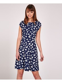 Butterfly Print Tie Back Skater Dress - sleeve style: capped; secondary colour: white; predominant colour: navy; occasions: casual; length: just above the knee; fit: fitted at waist & bust; style: fit & flare; fibres: polyester/polyamide - 100%; neckline: crew; sleeve length: short sleeve; pattern type: fabric; pattern: patterned/print; texture group: jersey - stretchy/drapey; multicoloured: multicoloured; wardrobe: highlight; season: s/s 2017