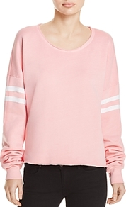 Stripe Detail Sweatshirt - neckline: round neck; pattern: horizontal stripes; style: sweat top; secondary colour: white; predominant colour: pink; occasions: casual, activity; length: standard; fibres: polyester/polyamide - 100%; fit: loose; sleeve length: long sleeve; sleeve style: standard; pattern type: fabric; pattern size: light/subtle; texture group: jersey - stretchy/drapey; season: s/s 2017