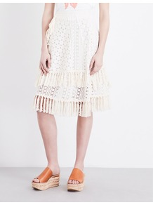 Crochet Cotton Blend Skirt, Women's, Off White - length: below the knee; pattern: plain; style: full/prom skirt; fit: loose/voluminous; waist: high rise; predominant colour: ivory/cream; occasions: evening, occasion, creative work; fibres: cotton - mix; texture group: lace; pattern type: fabric; embellishment: lace; wardrobe: highlight; season: s/s 2017; embellishment location: all over