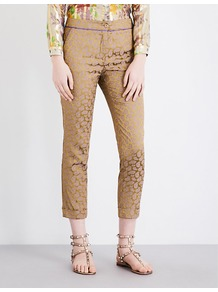 Paisley Print Cropped Jacquard Trousers, Women's, Gold - pattern: paisley; waist: high rise; predominant colour: gold; occasions: evening, creative work; length: calf length; fit: skinny/tight leg; pattern type: fabric; texture group: brocade/jacquard; style: standard; fibres: viscose/rayon - mix; pattern size: standard (bottom); wardrobe: highlight; season: s/s 2017