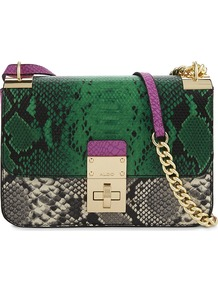 Colby Snake Embossed Cross Body Bag, Women's, Green - predominant colour: dark green; occasions: casual, creative work; type of pattern: heavy; style: messenger; length: across body/long; size: small; material: faux leather; pattern: animal print; finish: plain; embellishment: chain/metal; multicoloured: multicoloured; wardrobe: highlight; season: s/s 2017