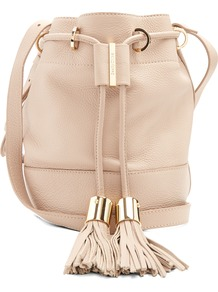 Vicki Medium Leather Cross Body Bucket Bag - predominant colour: nude; occasions: casual, creative work; type of pattern: standard; style: onion bag; length: across body/long; size: small; material: leather; embellishment: tassels; pattern: plain; finish: plain; wardrobe: investment; season: s/s 2017
