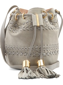Vicki Small Suede And Leather Bucket Bag - predominant colour: light grey; occasions: casual, creative work; type of pattern: standard; style: onion bag; length: across body/long; size: standard; material: suede; pattern: plain; finish: plain; wardrobe: investment; season: s/s 2017