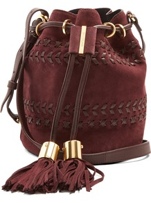 Vicki Small Suede Cross Body Bucket Bag - predominant colour: burgundy; secondary colour: gold; occasions: casual, creative work; type of pattern: standard; style: onion bag; length: across body/long; size: standard; material: suede; pattern: plain; finish: plain; wardrobe: highlight; season: s/s 2017