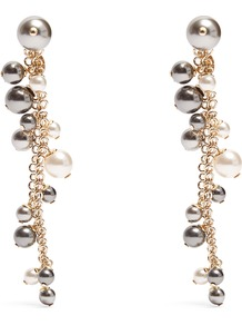 Faux Pearl Drop Earrings - predominant colour: gold; occasions: evening, occasion; style: drop; length: long; size: standard; material: chain/metal; fastening: pierced; finish: metallic; embellishment: pearls; wardrobe: event; season: s/s 2017