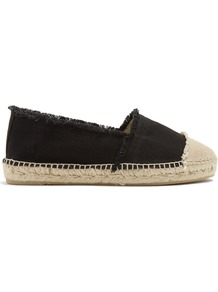 Kampala Canvas Espadrilles - secondary colour: stone; predominant colour: black; occasions: casual, holiday; material: fabric; heel height: flat; toe: round toe; finish: plain; pattern: colourblock; style: espadrilles; wardrobe: highlight; season: s/s 2017