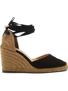 Carina Suede Wedge Espadrilles - secondary colour: camel; predominant colour: black; occasions: casual, evening; material: suede; heel height: high; ankle detail: ankle tie; heel: wedge; toe: round toe; finish: plain; pattern: colourblock; shoe detail: platform; style: espadrilles; wardrobe: highlight; season: s/s 2017