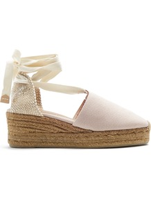 Campina Canvas Wedge Espadrilles - predominant colour: ivory/cream; occasions: casual, evening; material: fabric; heel height: high; ankle detail: ankle tie; heel: wedge; toe: round toe; finish: plain; pattern: plain; shoe detail: platform; style: espadrilles; wardrobe: highlight; season: s/s 2017
