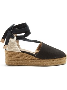 Campina Canvas Wedge Espadrilles - secondary colour: ivory/cream; predominant colour: black; occasions: casual, evening; material: fabric; heel height: high; ankle detail: ankle tie; heel: wedge; toe: round toe; finish: plain; pattern: colourblock; shoe detail: platform; style: espadrilles; wardrobe: highlight; season: s/s 2017