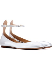 Garavani Tan Go Leather Ballerinas - predominant colour: silver; occasions: casual, creative work; material: leather; heel height: flat; ankle detail: ankle strap; toe: round toe; style: ballerinas / pumps; finish: metallic; pattern: plain; wardrobe: basic; season: s/s 2017