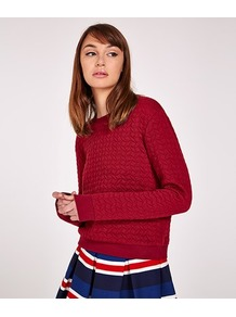 Textured Sweat Shirt - pattern: plain; style: sweat top; predominant colour: true red; occasions: casual; length: standard; fibres: polyester/polyamide - stretch; fit: straight cut; neckline: crew; sleeve length: long sleeve; sleeve style: standard; texture group: knits/crochet; pattern type: knitted - fine stitch; wardrobe: highlight; season: s/s 2017