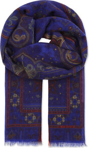 Bombay Cashmere Scarf, Women's, Multi 0200 - secondary colour: burgundy; predominant colour: royal blue; occasions: casual; type of pattern: standard; style: regular; size: standard; pattern: patterned/print; material: cashmere; wardrobe: highlight; season: s/s 2017