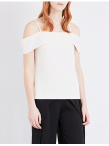 Tara Cold Shoulder Crepe Top, Women's, Black/Nude - pattern: plain; predominant colour: ivory/cream; occasions: evening; length: standard; style: top; fibres: polyester/polyamide - 100%; fit: straight cut; shoulder detail: cut out shoulder; sleeve length: short sleeve; sleeve style: standard; texture group: crepes; neckline: medium square neck; pattern type: fabric; wardrobe: event; season: s/s 2017