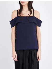Tara Cold Shoulder Crepe Top, Women's, Blue - pattern: plain; predominant colour: navy; occasions: casual, evening; length: standard; style: top; fibres: polyester/polyamide - stretch; fit: straight cut; shoulder detail: cut out shoulder; sleeve length: short sleeve; sleeve style: standard; texture group: crepes; neckline: medium square neck; pattern type: fabric; wardrobe: highlight; season: s/s 2017