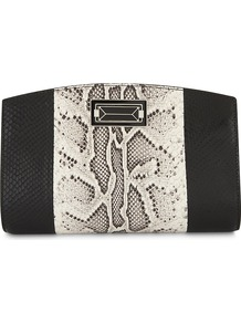 Snake Embossed Leather Clutch, Women's, Black White - secondary colour: ivory/cream; predominant colour: black; occasions: evening; type of pattern: standard; style: clutch; length: hand carry; size: standard; material: leather; pattern: animal print; finish: plain; multicoloured: multicoloured; wardrobe: event; season: s/s 2017