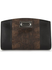 Snake Embossed Leather Clutch, Women's, Brown - secondary colour: tan; predominant colour: black; occasions: evening; type of pattern: standard; style: clutch; length: hand carry; size: small; material: leather; finish: plain; pattern: colourblock; multicoloured: multicoloured; wardrobe: event; season: s/s 2017