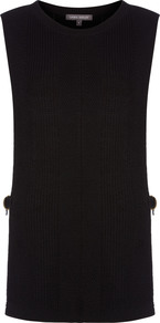 Sleeveless Tabard Knitted Top - neckline: round neck; pattern: plain; sleeve style: sleeveless; length: below the bottom; style: tunic; predominant colour: black; occasions: casual, work, creative work; fibres: wool - mix; fit: body skimming; sleeve length: sleeveless; texture group: knits/crochet; pattern type: knitted - fine stitch; wardrobe: basic; season: s/s 2017