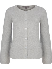 Crew Neck Milano Knit Cardigan - neckline: round neck; pattern: plain; predominant colour: light grey; occasions: casual, work, creative work; length: standard; style: standard; fibres: cotton - 100%; fit: slim fit; sleeve length: long sleeve; sleeve style: standard; texture group: knits/crochet; pattern type: knitted - fine stitch; wardrobe: basic; season: s/s 2017