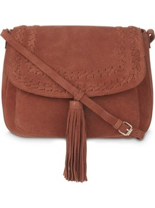 Brown Plait Detail Tassel Suede Cross Body Bag - predominant colour: tan; occasions: casual, creative work; type of pattern: standard; style: saddle; length: across body/long; size: standard; material: suede; embellishment: tassels; pattern: plain; finish: plain; wardrobe: highlight; season: s/s 2017