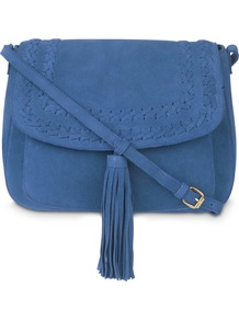 Blue Plait Detail Tassel Suede Cross Body Bag - predominant colour: denim; occasions: casual, creative work; type of pattern: standard; style: saddle; length: across body/long; size: standard; material: suede; embellishment: tassels; pattern: plain; finish: plain; wardrobe: highlight; season: s/s 2017