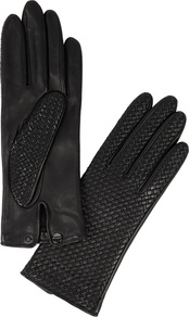 Chloetresse Black Woven Leather Gloves - predominant colour: black; occasions: casual; type of pattern: standard; style: standard; length: wrist; material: leather; pattern: plain; wardrobe: basic; season: s/s 2017