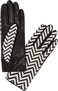 Chloetresse Black Woven Leather Gloves - secondary colour: white; predominant colour: black; occasions: casual; type of pattern: standard; style: standard; length: wrist; material: leather; pattern: patterned/print; wardrobe: highlight; season: s/s 2017