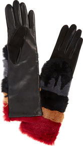 Sylvia Leather And Rabbit Fur Gloves - secondary colour: true red; predominant colour: black; occasions: casual, creative work; type of pattern: standard; style: standard; length: elbow; material: leather; pattern: plain; embellishment: fur; wardrobe: highlight; season: s/s 2017