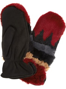 Sylvia Rabbit Fur And Suede Mittens - predominant colour: true red; occasions: casual; type of pattern: standard; style: mittens; length: wrist; material: suede; pattern: horizontal stripes; embellishment: fur; multicoloured: multicoloured; wardrobe: highlight; season: s/s 2017