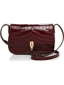 Cynnie Flap Croc Embossed Leather Crossbody - predominant colour: burgundy; secondary colour: gold; occasions: casual; type of pattern: standard; style: messenger; length: across body/long; size: small; material: leather; pattern: plain; finish: plain; wardrobe: highlight; season: s/s 2017