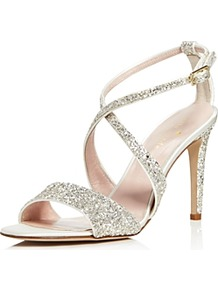 Felicity Glitter High Heel Sandals - predominant colour: silver; occasions: evening, occasion; material: leather; heel height: high; embellishment: sequins; ankle detail: ankle strap; heel: stiletto; toe: open toe/peeptoe; style: strappy; finish: metallic; pattern: plain; wardrobe: event; season: s/s 2017