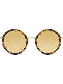 Lfl239 Round Frame Sunglasses, Women's, Gold - predominant colour: tan; occasions: casual, holiday; style: round; size: standard; material: plastic/rubber; pattern: tortoiseshell; finish: plain; wardrobe: highlight; season: s/s 2017