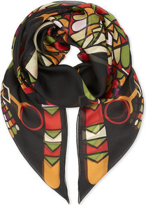 Egyptian Silk Scarf, Women's, Multicolour - secondary colour: true red; predominant colour: black; occasions: casual; type of pattern: standard; style: regular; size: standard; material: silk; pattern: patterned/print; multicoloured: multicoloured; wardrobe: highlight; season: s/s 2017