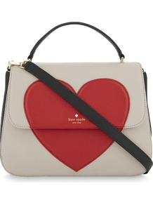 Be Mine Heart Alexya Leather Shoulder Bag, Women's, Multicolour - predominant colour: ivory/cream; secondary colour: true red; occasions: casual, creative work; type of pattern: standard; style: shoulder; length: shoulder (tucks under arm); size: standard; material: leather; finish: plain; pattern: colourblock; multicoloured: multicoloured; wardrobe: highlight; season: s/s 2017